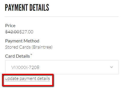 Urban Brew update payment details