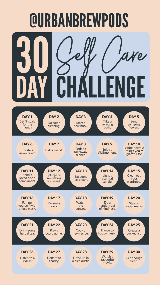 Urban Brew Coffee Pods 30 Day Self-care Challenge