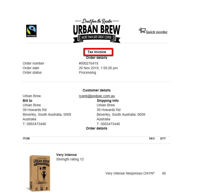 Urban Brew order tax invoice