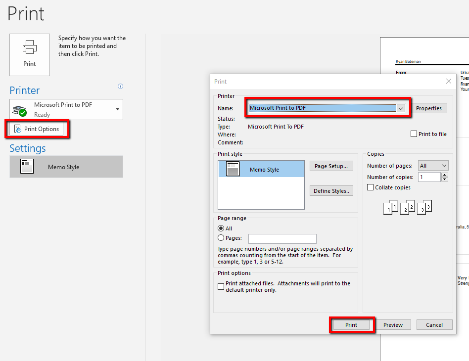 Outlook print preview - save to pdf