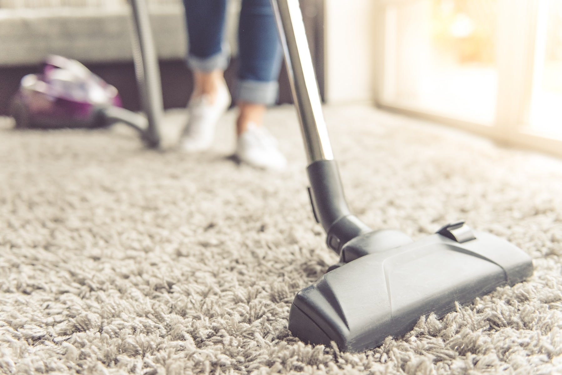 Vacuuming Floor With Baking Soda